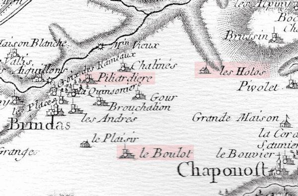 Situation des maisons fortes de Brindas sur la carte de Cassini
