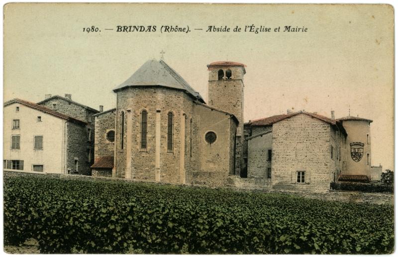 Vue arrière de l'église de Brindas (carte postale ancienne)